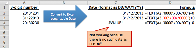 Convert an 8-digit number into Excel-recognizable Date
