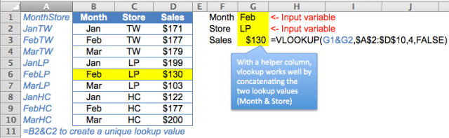Excel Tips - lookup 2 values 2