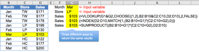 Excel Tips - lookup 2 values 3