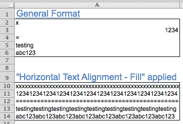 Excel Tips - Text Alignment Fill 2