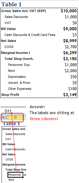 Excel Tips - Text Alignment Indent 2