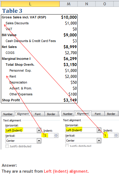 Excel Tips - Text Alignment Indent 4