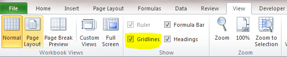 Excel Tips - Remove Gridlines 1