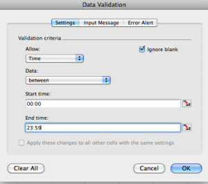 Excel Tips - Data Validation Time 1