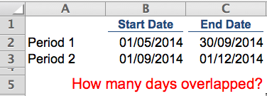 Excel Tips - How many days overlapped