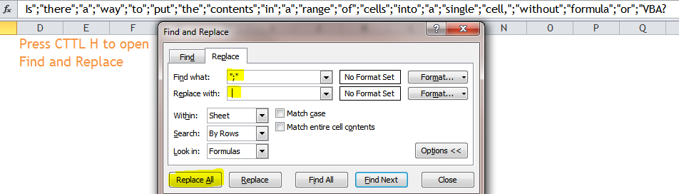 Combine contents in a range of cells into a single cell, with no VBA