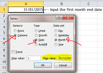 Excel Tips - Fill a series of month end dates 3