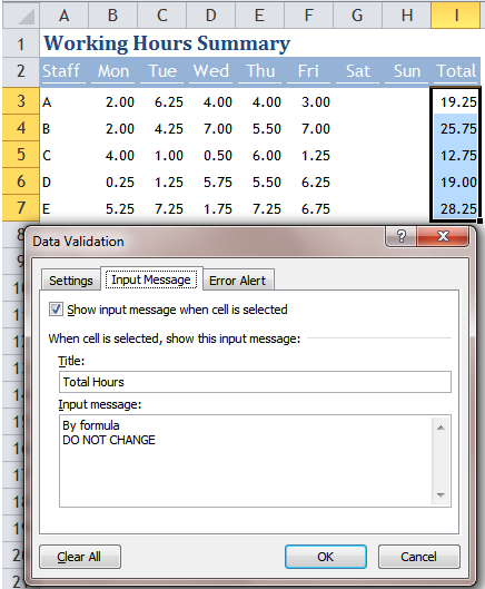 Excel Tips - Move Input Message out of the way 1.1