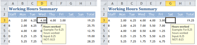 Excel Tips - Move Input Message out of the way 2