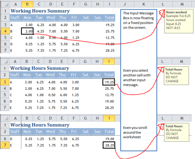 Excel Tips - Move Input Message out of the way 4