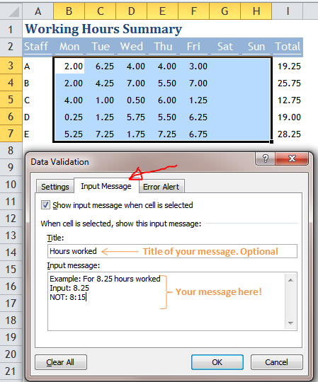 Excel Tips - Move Input Message out of the way