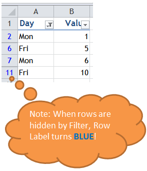 Excel Tips - Filter vs. Hidden 3