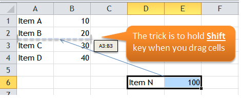 Excel Tips - Move cells with Shift Drag 1