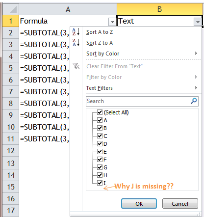 Excel Tips - Filter Bug 1