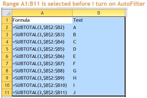 Excel Tips - Filter Bug 2