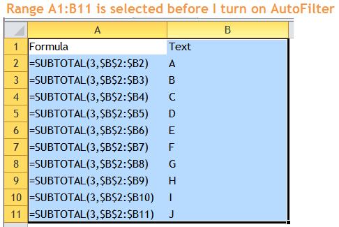 Excel Tips - Filter Bug 2