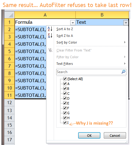 Excel Tips - Filter Bug 3