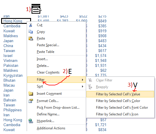 Excel Tips - Filter by selection with Menu Key 4