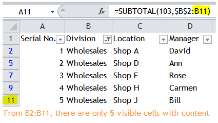 Excel Tips - Sequential number for visible rows only 2