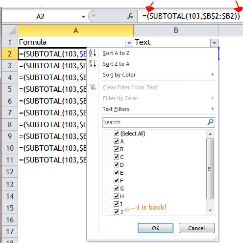 Excel Tips - Filter Bug 5