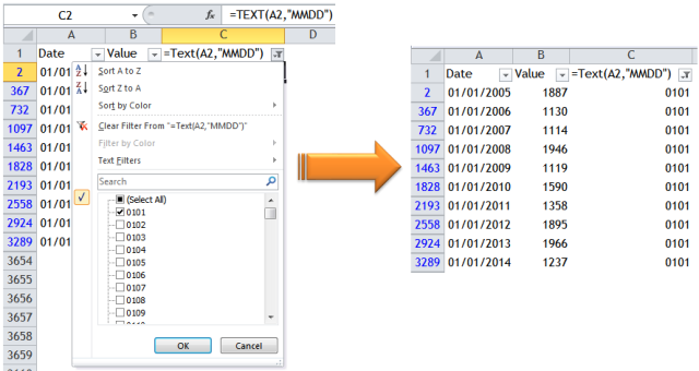 Excel Tips - To filter a particular date ignoring years 4