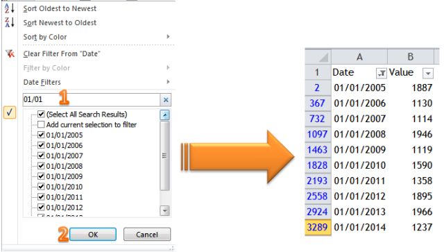 Excel Tips - To filter a particular date ignoring years 6