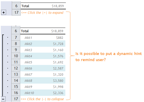 Excel Tips - Dynamic Hint for showing or hiding hidden rows 2