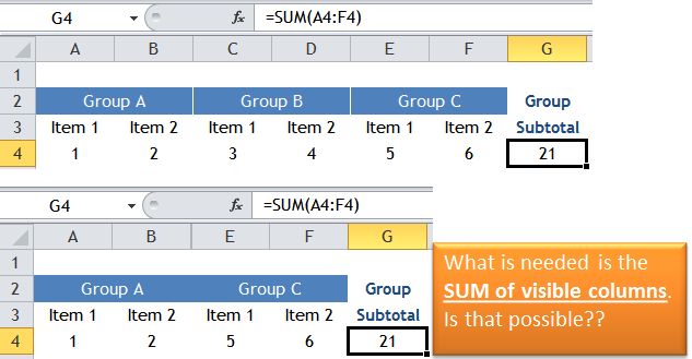Excel Tips - SUM visible columns 1