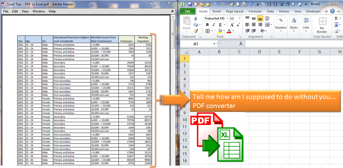 Convert PDF to Excel without PDF converter | wmfexcel