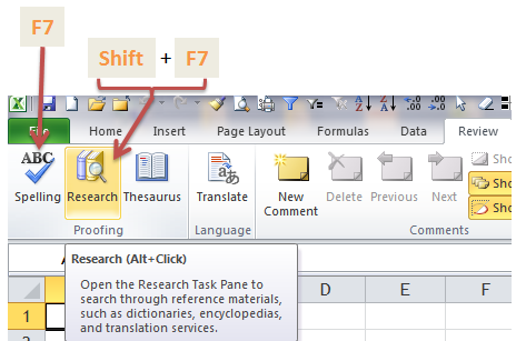 Excel Tips - F7
