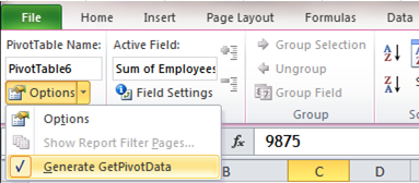 Excel Tips - GetPivotData 1