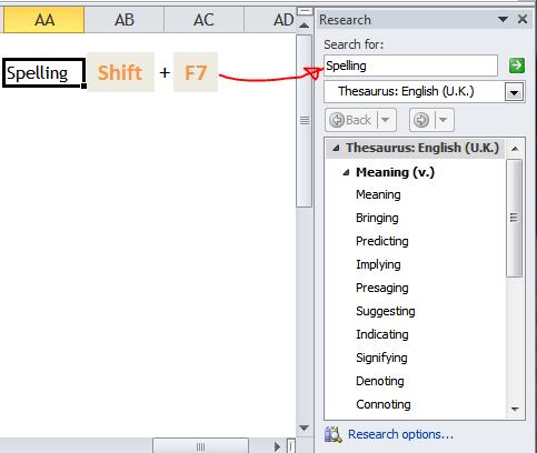 Excel Tips - Shift+F7