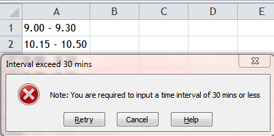 Excel Tips - Validate 30mins interval in a single cell 0