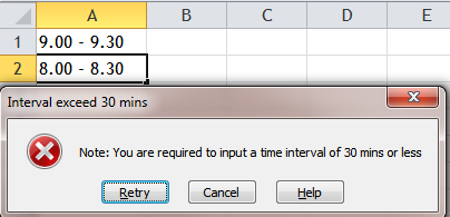 Excel Tips - Validate 30mins interval in a single cell 2