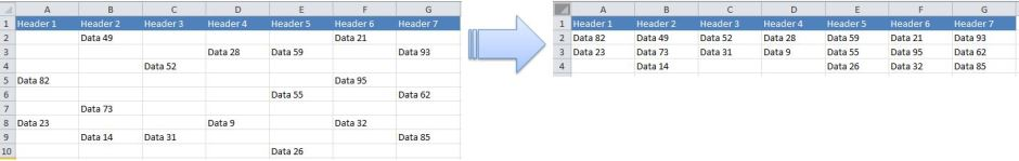 Excel Tips - Move cells with data to the top 0