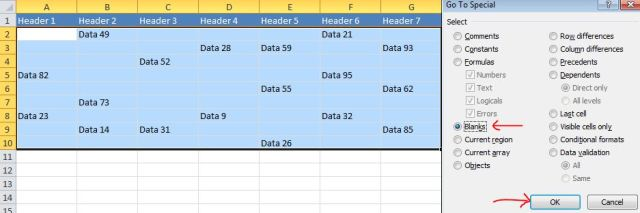 Excel Tips - Move cells with data to the top
