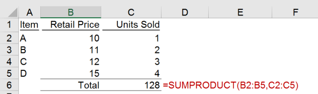 Excel Tips - SUMPRODUCT basic 3