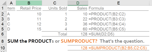 Excel Tips - SUMPRODUCT basic 5.1