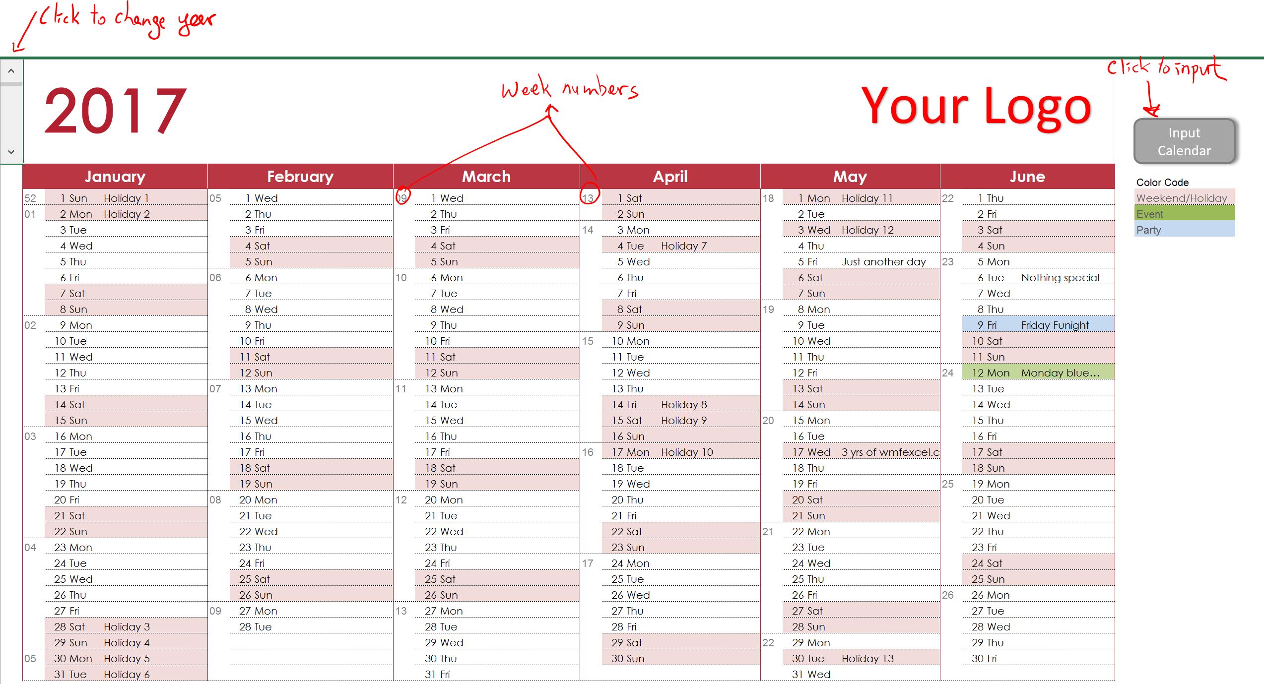 working calendar template
