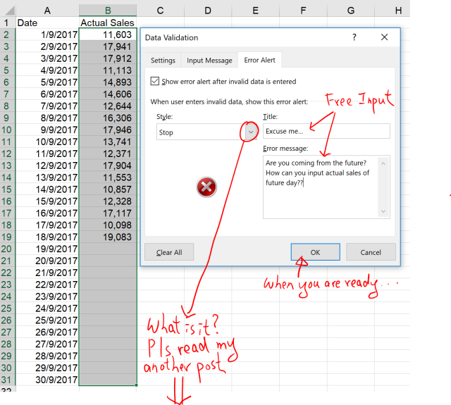 Excel Tip - Data Validation to restrict input to fututre days 1