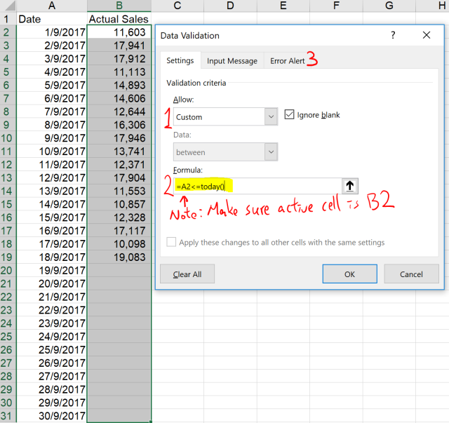 Excel Tip - Data Validation to restrict input to fututre days