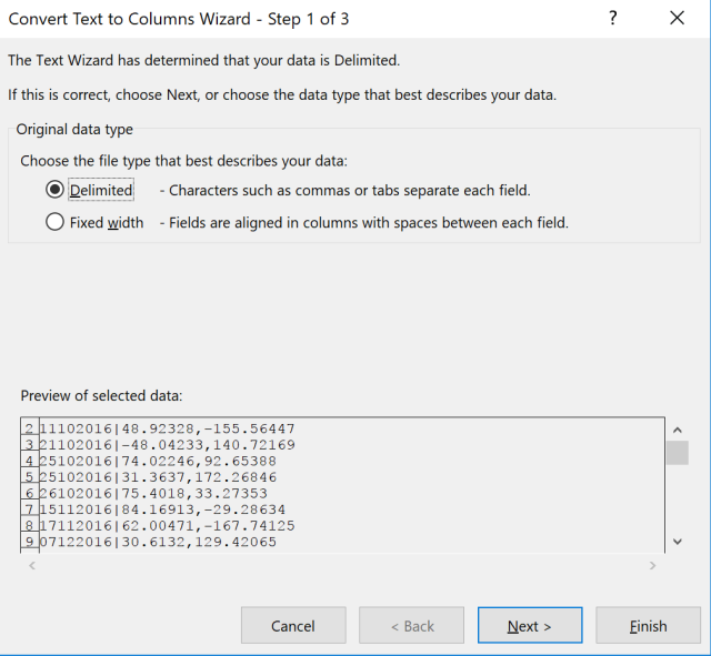Exce Tip - Text to Columns_Delimited 1