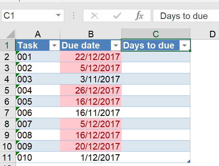 Excel tip - due date 2