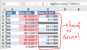 Excel tip - due date 4