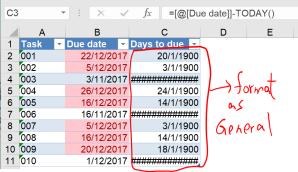 Excel tip - due date 4