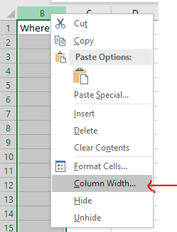 Excel Tip - unhide column A (6)