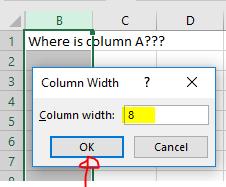 Excel Tip - unhide column A (7)