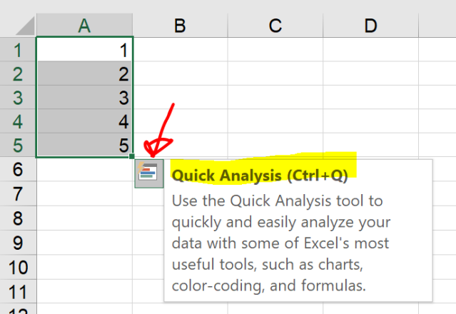 Excel Tips - Quick Analysis