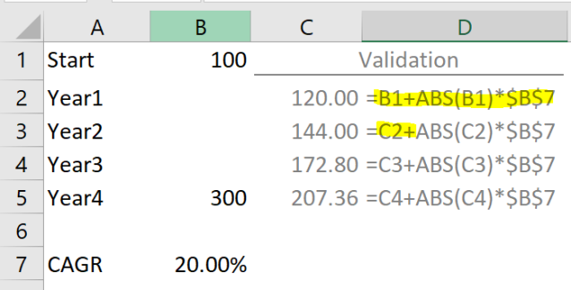 Excel Tips - Calculating CAGR with Goal Seek4