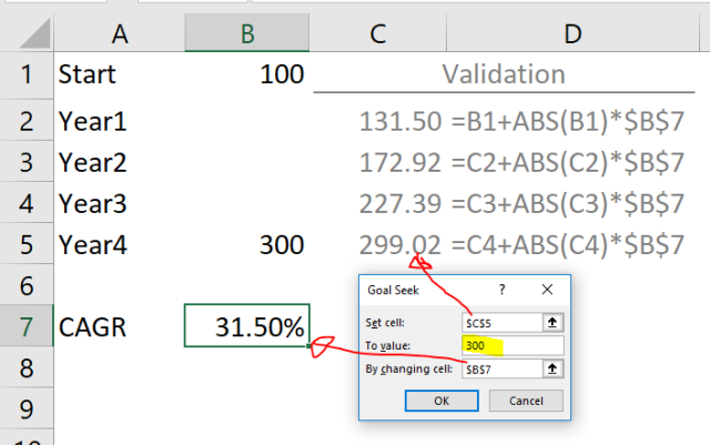 Excel Tips - Calculating CAGR with Goal Seek7